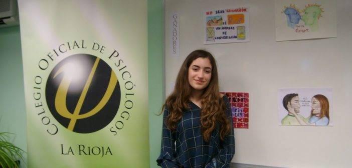 Alicia Samaniego León, finalista en el concurso de dibujo del Colegio Oficial de Psicólogos de La Rioja (COP) en la categoría de 3º-4º de la ESO