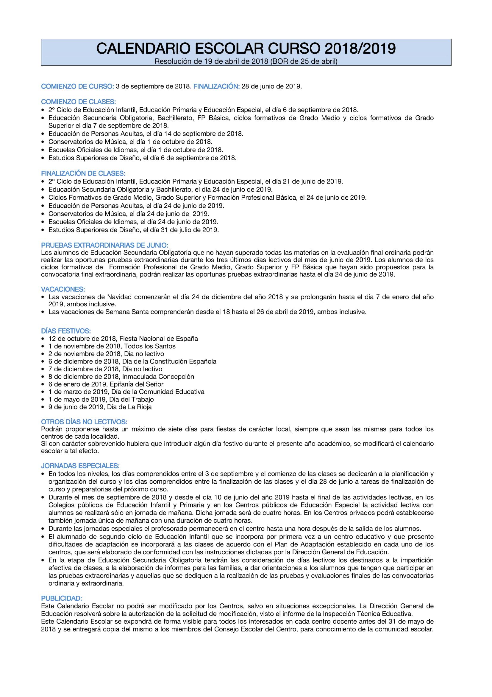 Calendario Laboral Tenerife 2019.Calendario Academico 2018 2019 I E S La Laboral Lardero La