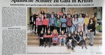 Los alumnos del intercambio de 3º ESO del Proyecto Bilingüe en la prensa de la localidad de Kriftel