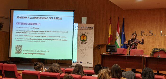 Sesión informativa de la Universidad de La Rioja a los alumnos de 2º de Bachillerato