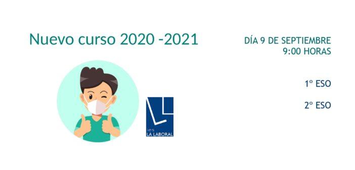 Presentación del nuevo curso 2020 – 2021: día 9 de septiembre