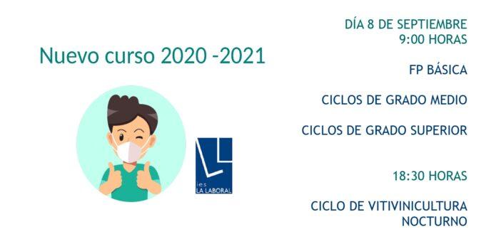 Presentación del nuevo curso 2020 – 2021: día 8 de septiembre